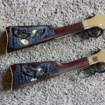 Gun Stock Carving with Bald Eagle