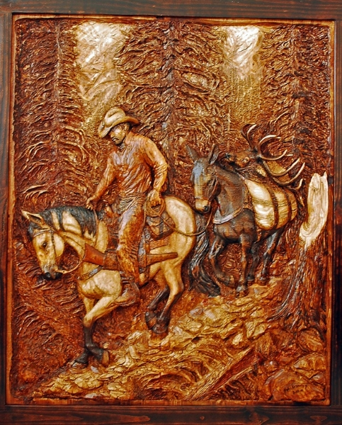 Bas Relief Wood Carving by Dyke Roskelley