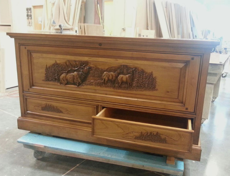 Gun Chest carved with Elk Scene