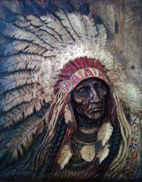 Native American Wood Relief Carving Image