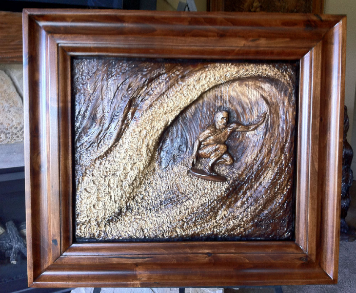 Surfer Wood Carving by Dyke Roskelley