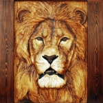 Wood Carved Lion by Dyke Roskelley