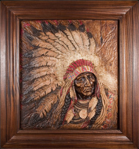 Wood Carving of Indian Chief - Wall Hanging