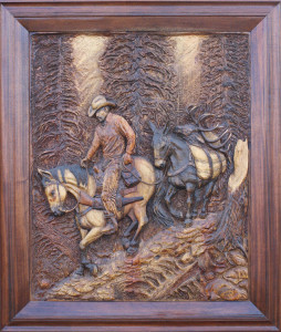 Wood Carving Wall Hanging of Dunn Pack Horse