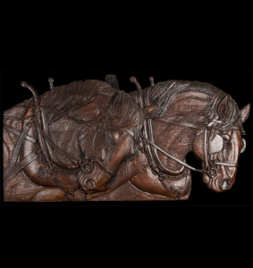 Relief Wood Carving of Draft Horses by Dyke Roskelley