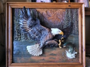 Relief Wood Carving of Bald Eagle