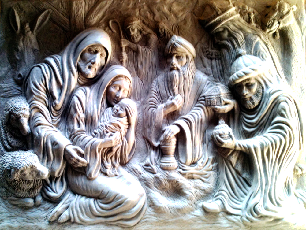 Nativity Sculpture in Clay by Dyke Roskelley