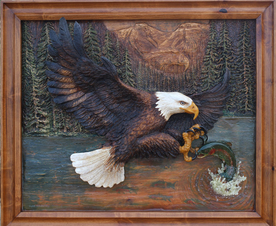 Wood Carving of a Bald Eagle Fishing by Dyke Roskelley